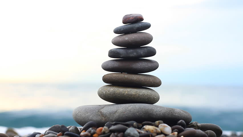 River stones stacked
