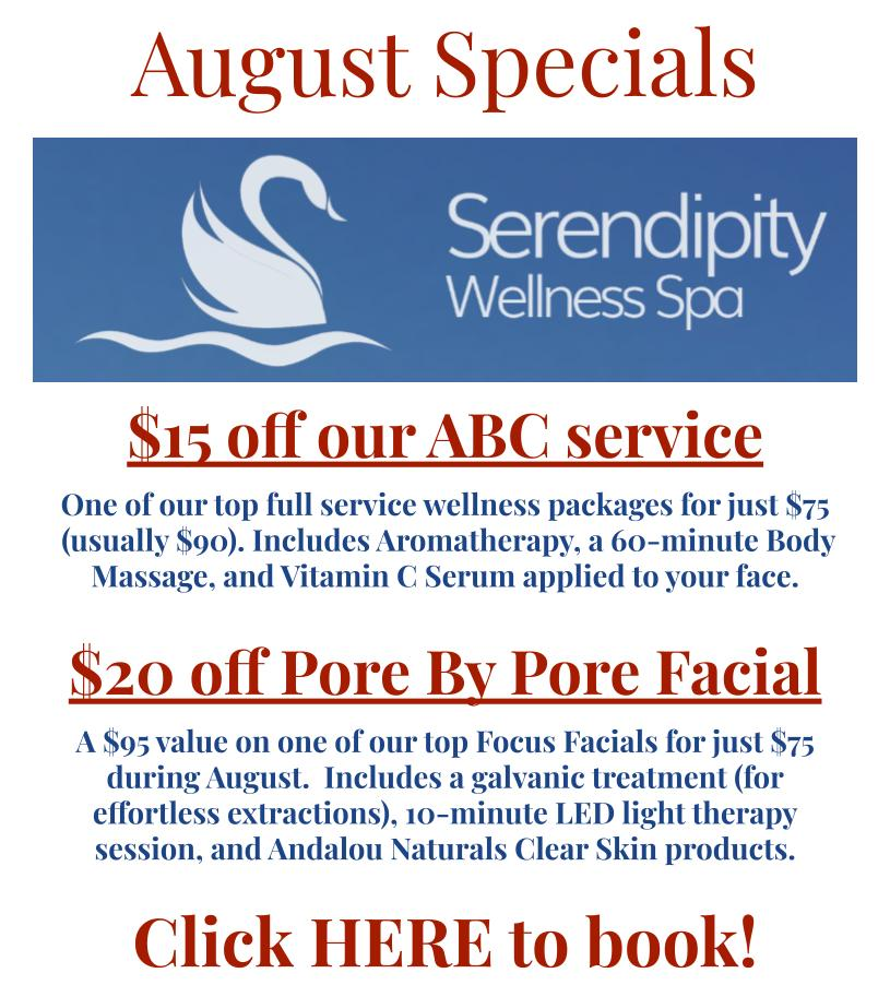 Serendipity Wellness Spa August 2021 specials